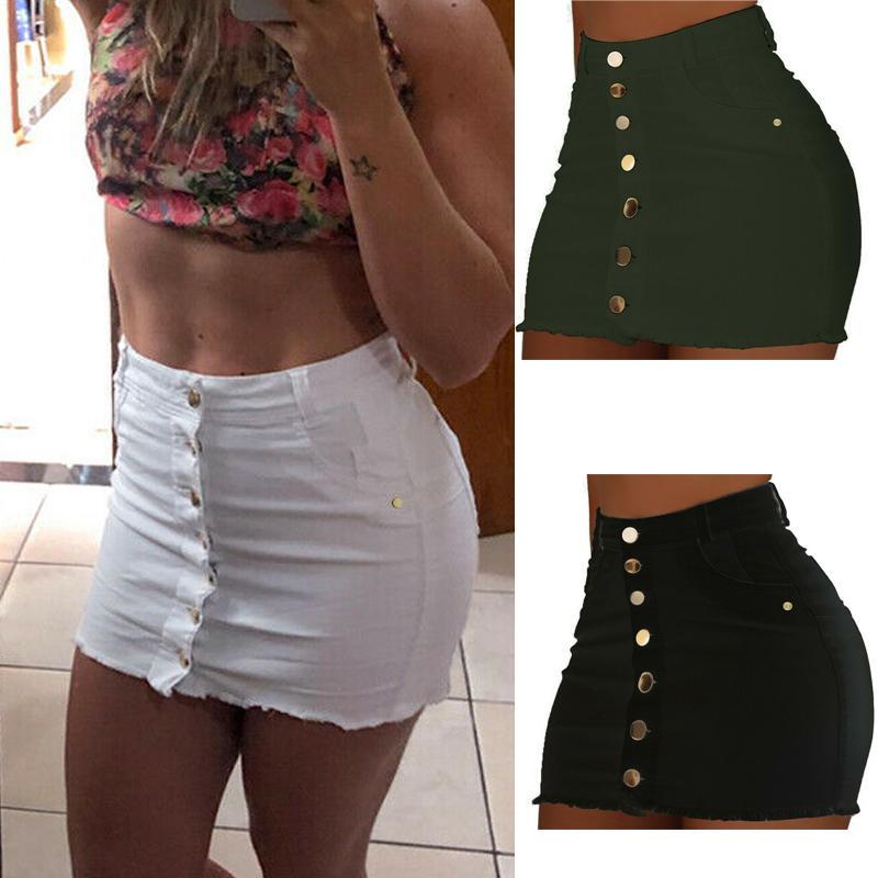 Botón de las mujeres Falda de talle alto de vacaciones de verano Denim Jean ajustado de partido ocasional una línea corta estiramiento mini vestido del lápiz