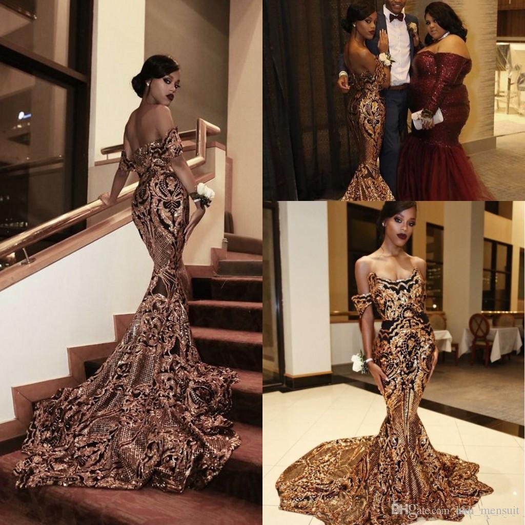 2019 Nuevo Lujo Oro negro Vestidos de baile Sirena fuera del hombro Vestidos de baile africanos atractivos Vestidos Vestidos para ocasiones especiales Vestidos de noche