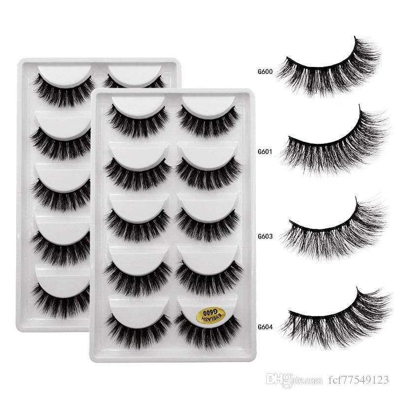 Tamax G600 wholesale 5 Pairs grade A quality fake Mink Eyelashes 3D Mink Lashes Fake Eyelashes Natural 3d False Lashes 10-15mm