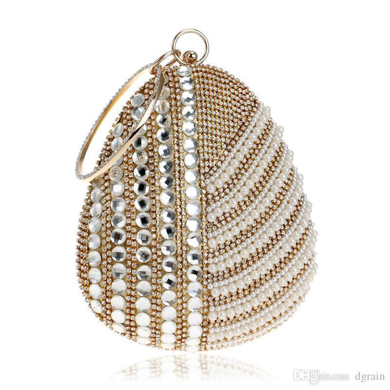 Designer 2019 Kristall Strass Frauen Abendtaschen Brautkleid Perlen Braut Handtasche Kleine Prom Clutch