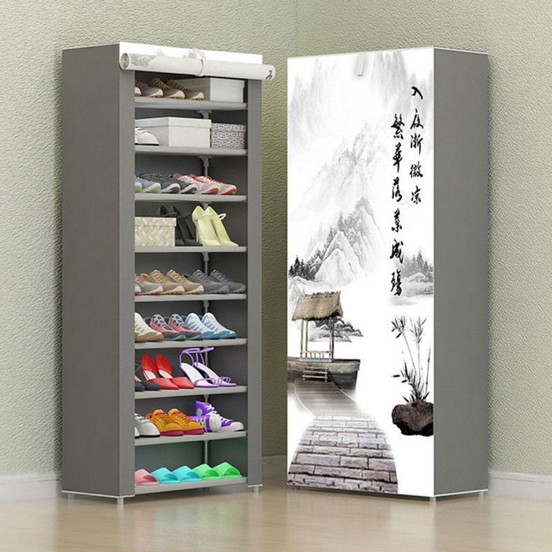 8 Schicht 10 Schichtkombination Schuhschrank Einfachen Stoff Gewebe-Speicher-Schuhe Rack-Folding Staubdichtes Schuhregal DIY Möbel