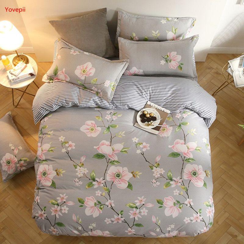 Yovepii de cama gris de flores 3 / 4pcs juego de cama blanco y negro ropa de cama franja hoja plana ropa de cama conjunto leopardo casa de primavera 2018