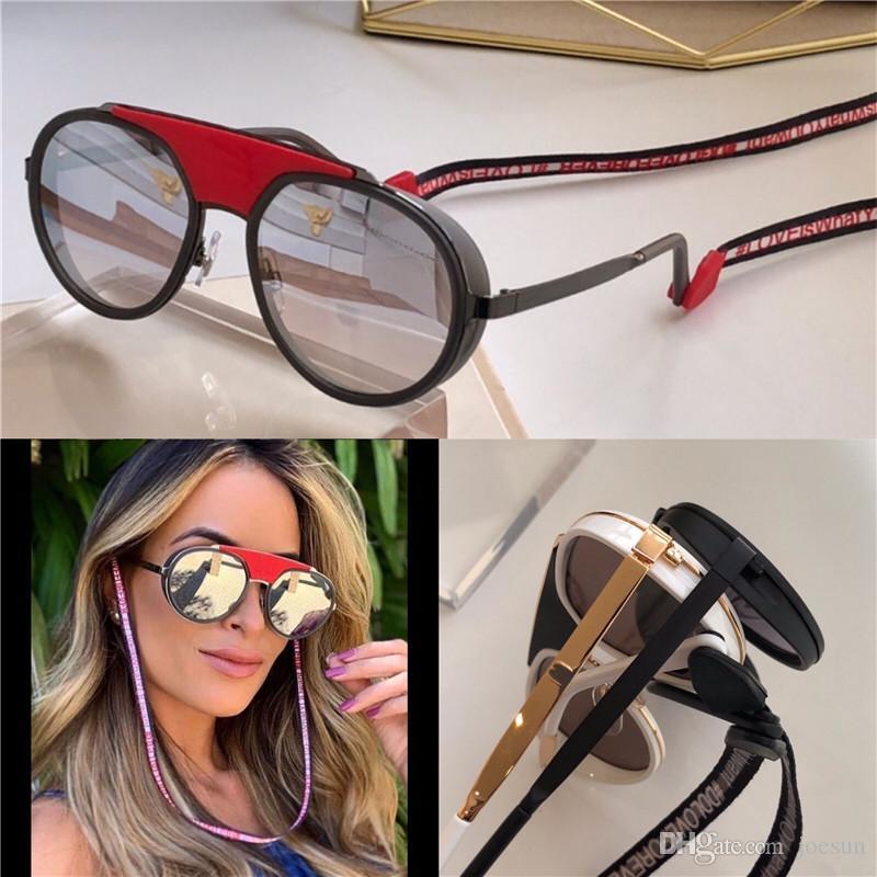 Nuovo design moda donna occhiali da sole 2210 rotonda cornice retrò con colore corda lente rivestiti d'avanguardia pop UV400 stile top obiettivo di qualità