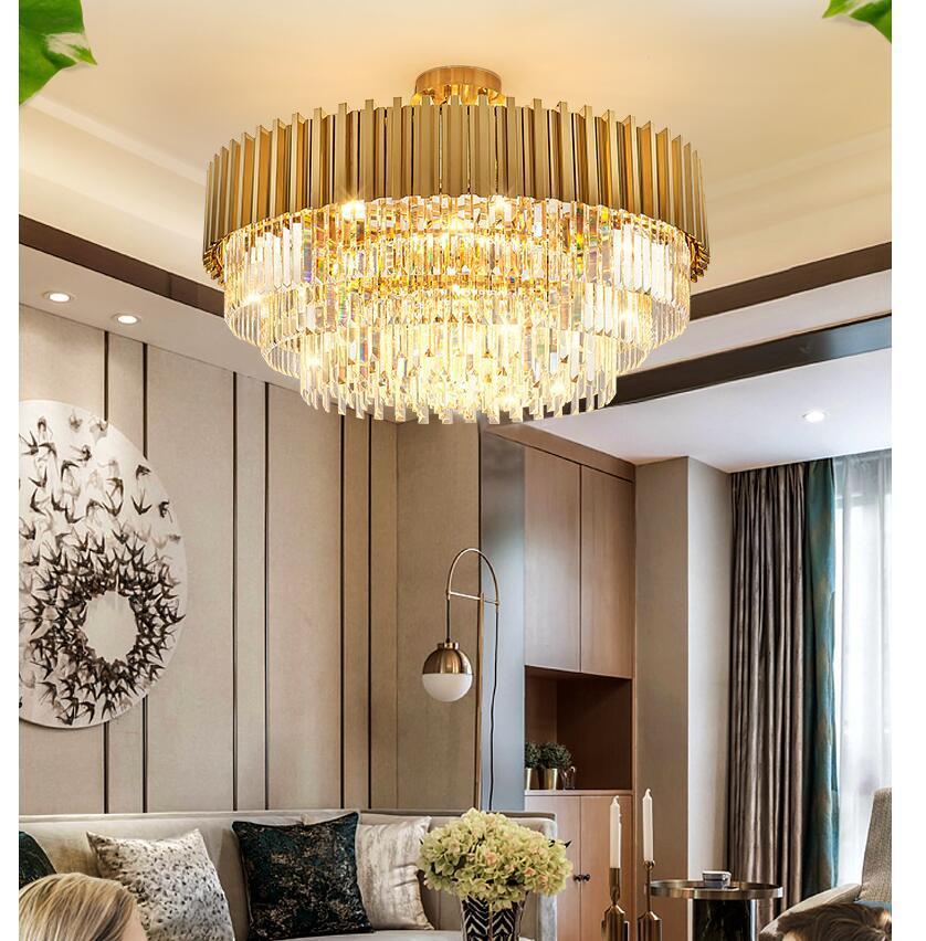 Modern Kristal Sarkıt D50CM H30cm Avrupa Modern Yaratıcı Kristal Kolye Işık Restoran Oturma Odası Dekorasyon Lamba Ev Dekorasyon