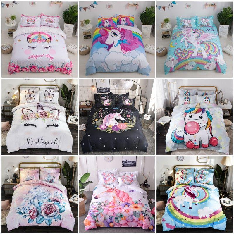 Unicorn 3D Bedding Sets Cute Duvet Cover Pillowcases Girl