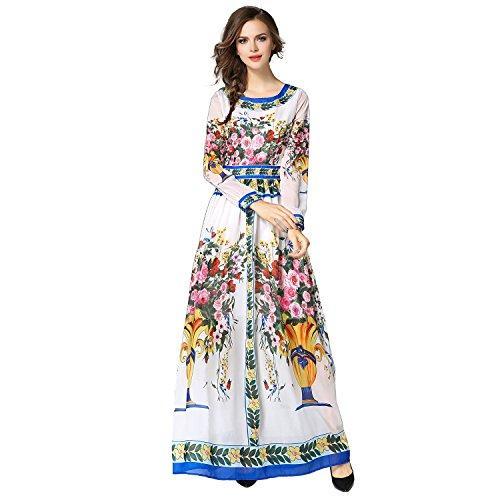 Платье макси с длинным рукавом и длинными рукавами из шифона с цветочным принтом Gold House