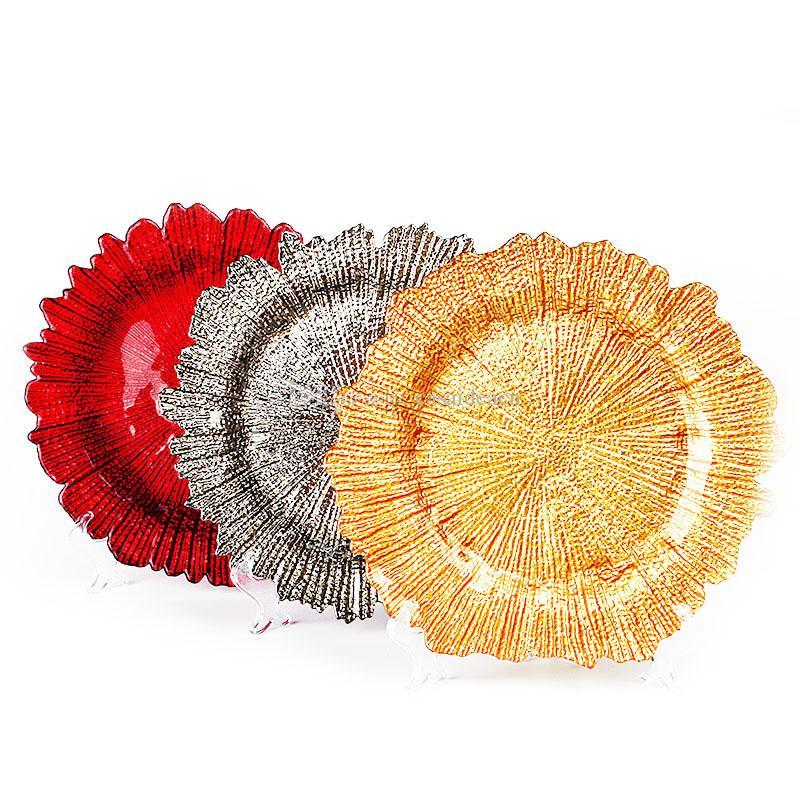 13 pouces plaque de verre flocon de neige Chargeur avec Eletroplating Fini forme de fleur Plateau de fruits Vaisselle pour soirée de mariage d'or d'argent