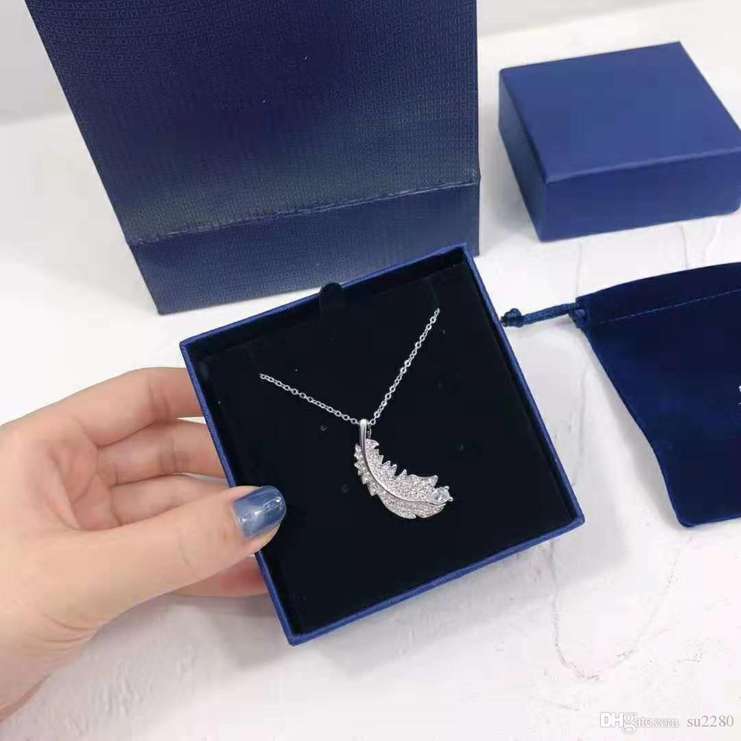 Austrian seiko shijia gold feather necklace peacock silver feather micro - crystal set clavicle chain
