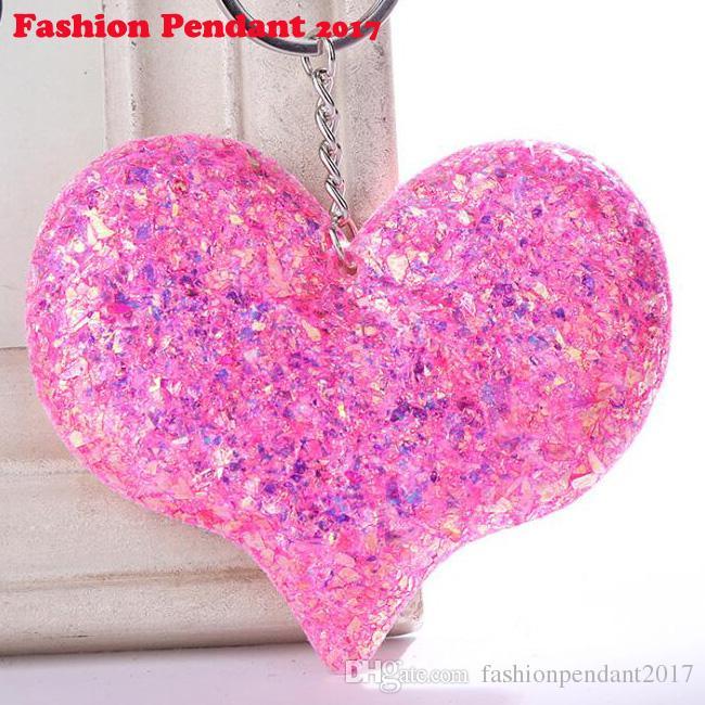New Sequins Love Keychain Shiny Reflective Cartoon Couple Keychain Personality Accessories Heart-shaped Car Keys Pendant Jewelry