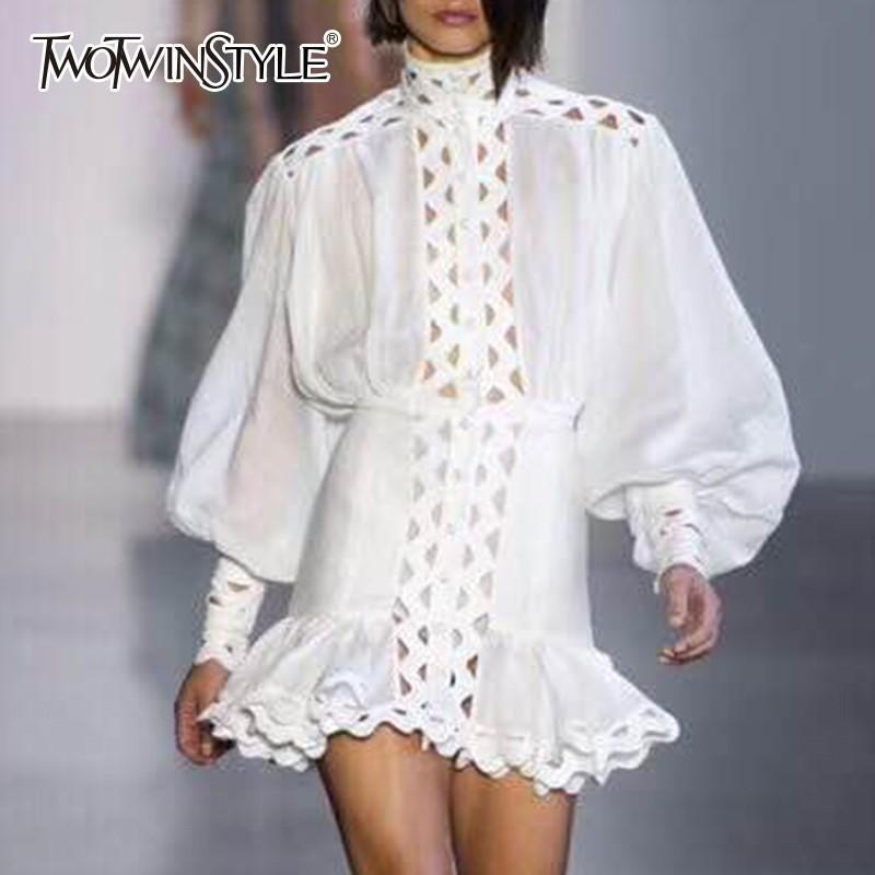 Twotwinstyle Bodycon Elbise Kadın Fener Uzun Kollu Yüksek Bel Fırfır Hem Gömlek Elbiseler Oymak Kadın 2018 Sonbahar Moda J190620