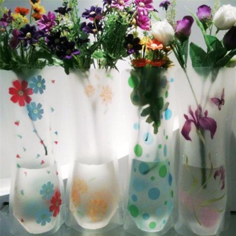 صديقة للبيئة حقيبة واضحة PVC البلاستيكية زهرية المياه طوي زهرة زهرية روز 1500pcs / الكثير قابلة لإعادة الاستخدام حفل زفاف زهرية الديكور المنزلي DHB22