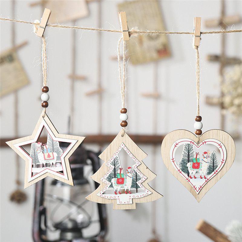 Рождественский Подвесной Деревянный Кулон С Резьбой Альпака Шаблон Для Праздничного Сезона Фестиваль Елочные Украшения Украшения