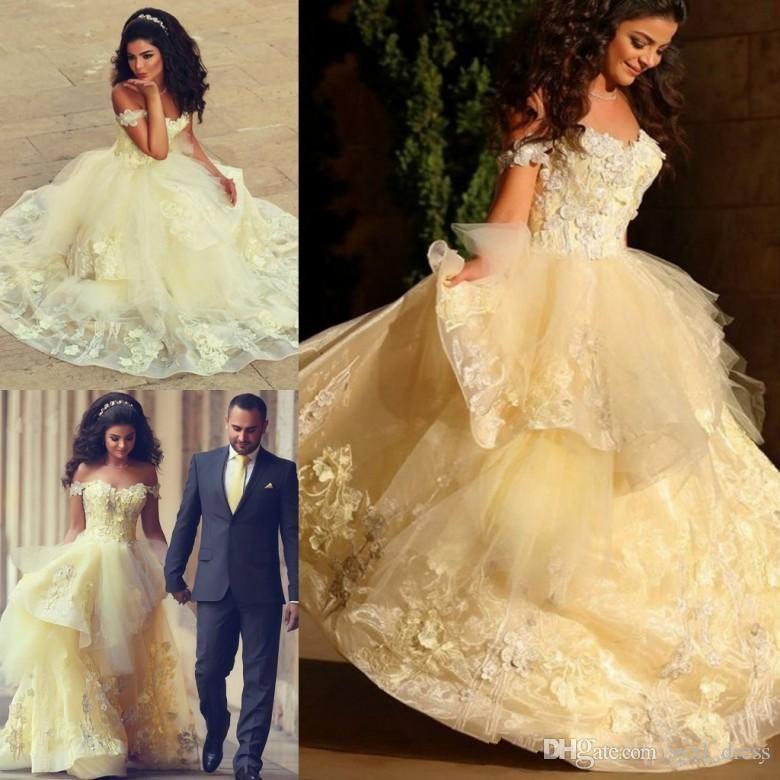 2019 년 Mhamad 아랍어 라이트 옐로우 볼 가운 Quinceanera Dresses 파티 착용 달콤한 16 개의 아플리케 피곤한 러프 Vestido de Noiva
