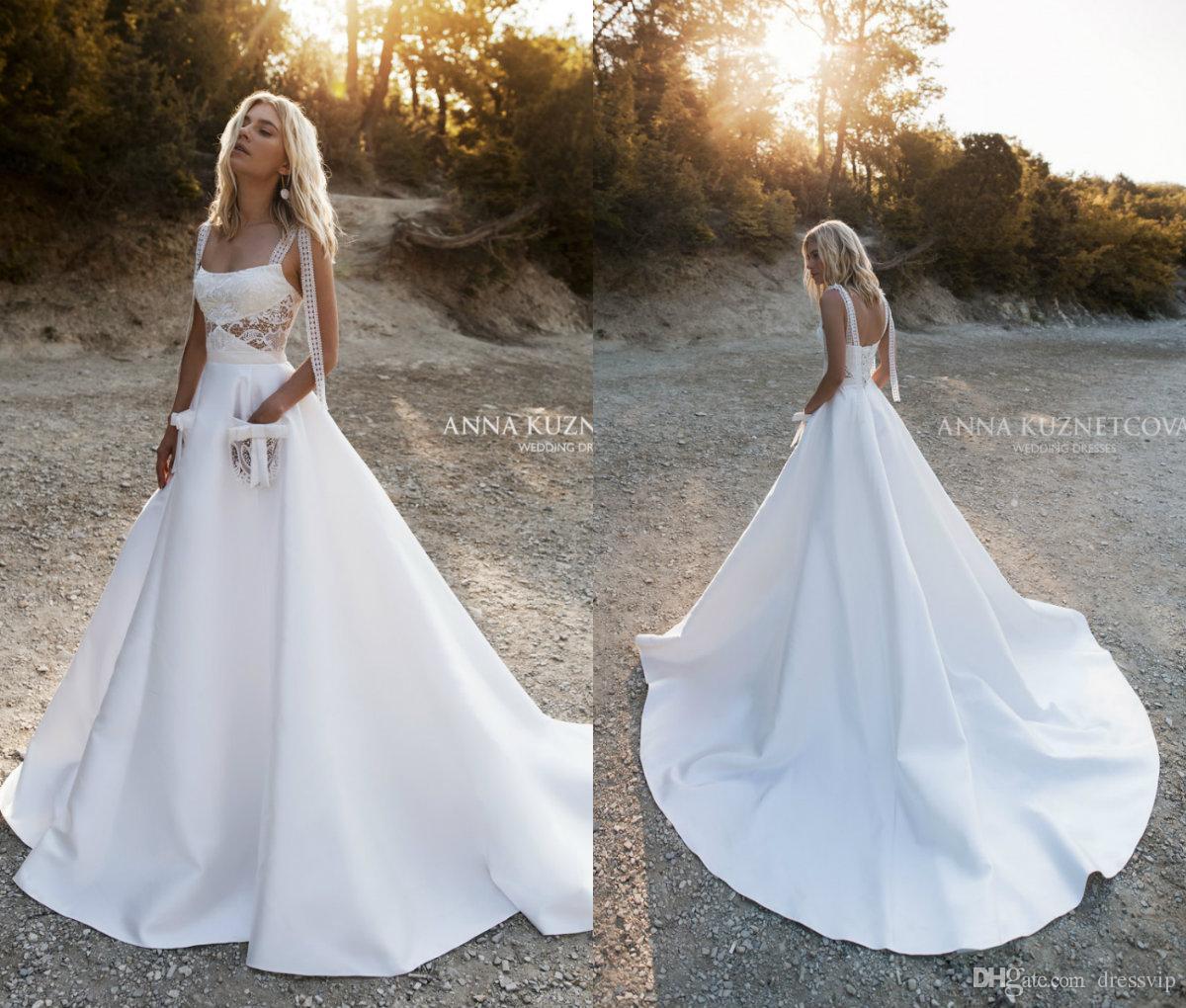 2019 Beach Wedding Dresses With Pocket Straps A Line Satin Sweep Train Lace Boho Wedding Dress Custom Plus Size Elegant Bridal Gowns