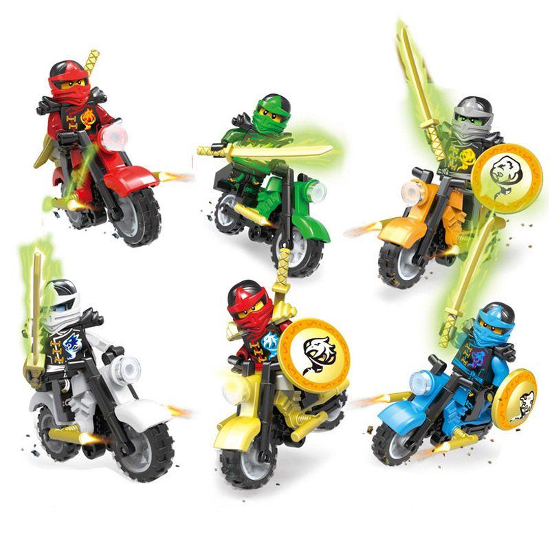 6 pcs Lot Phantom Ninja Tornado Motorcycle Chariot Vehicle Kai Garmadon Cole Ninja Mini Toy Figure Building Block Bricks With Swords Motor