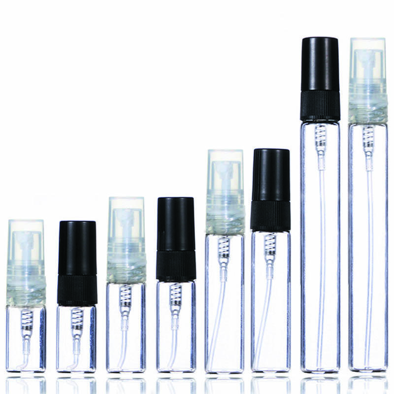 De 2 ml de 3 ml de 5 ml de 10 ml botella de perfume de plástico / cristal, vacío Botella para rociar Refilable, Small Parfume atomizador, frascos del perfume de ejemplo