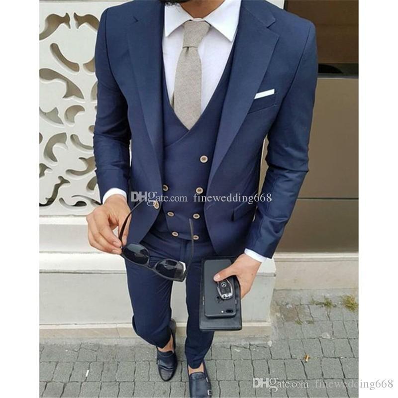 El más reciente de los padrinos de un botón muesca solapa esmoquin casarse de hombres Trajes de boda / de Baile / Cena mejor hombre Blazer (chaqueta + Tie + chaleco + pantalones) 624