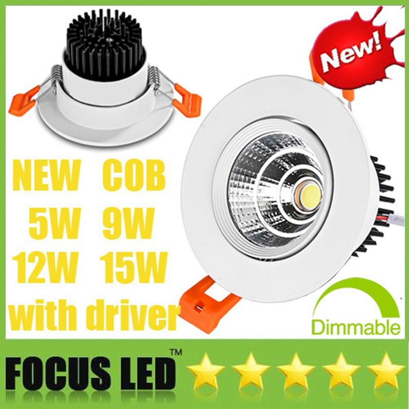 Popular CREE COB 5W 9W 12W 15W Dimmable /Non LED Downlights AC110-240V Driver Tiltable Fixture Recessed Ceiling Down Lights Cabinet Lamps