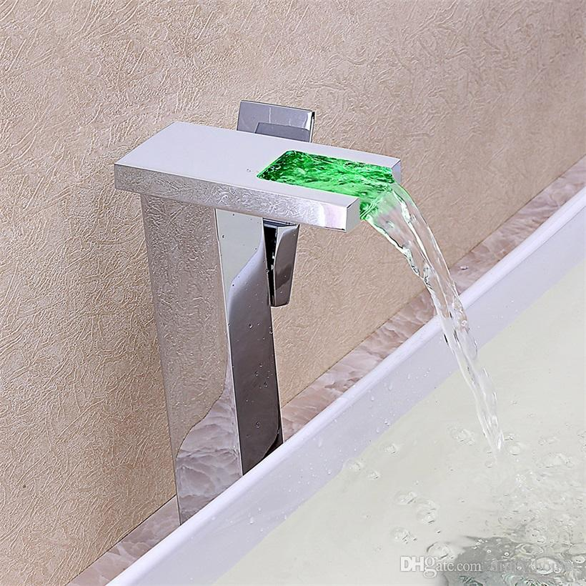 Modern LED Square Waterfall Spout Mixer Tap Basin Vessel Sink Faucet One Lever Handle
