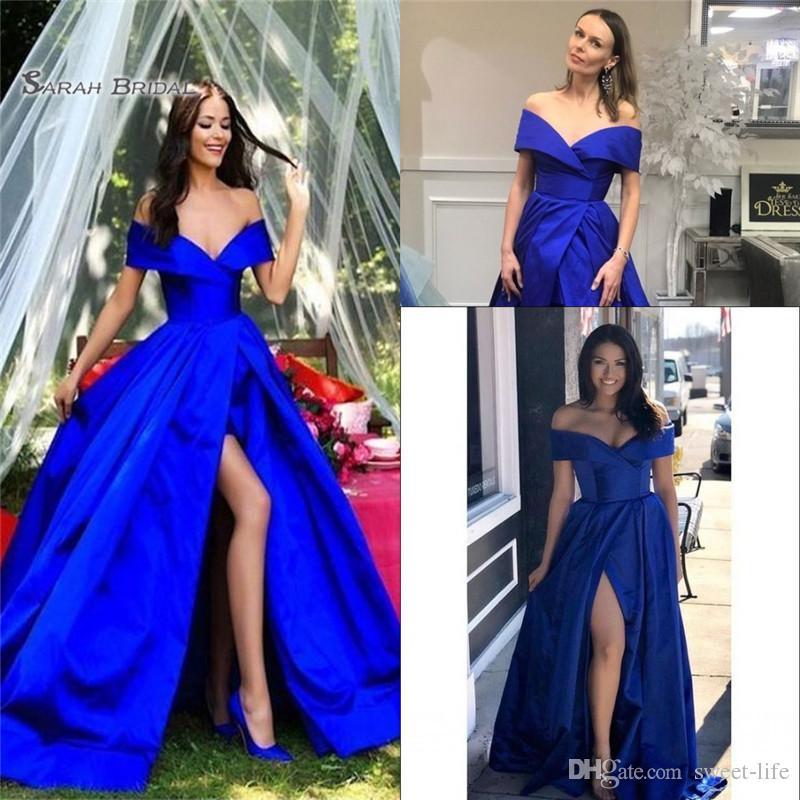2020 Dividir fuera del hombro sin mangas del desgaste del partido de tarde azul real de una línea vestido de fiesta atractiva
