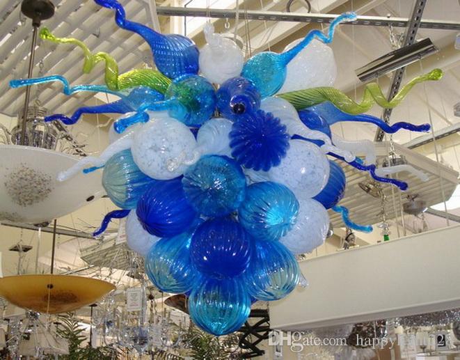 Moderna Blu Bianco Verde mano soffiato di Murano Glass Chandelier per tavola di nozze Top Centrotavola Ciondolo LED