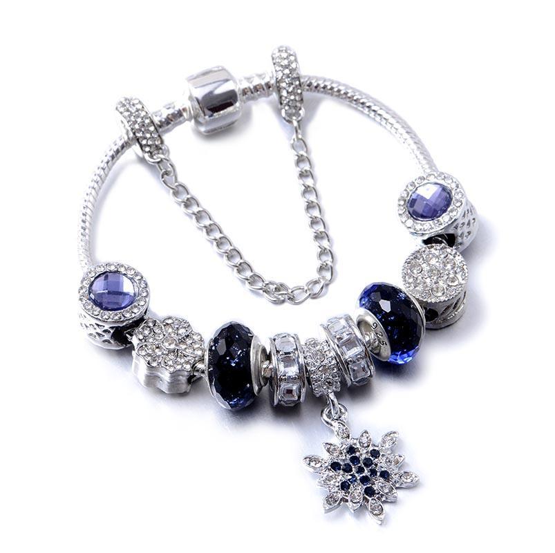 Polway Flocon de cristal Charm Bracelets BraceletsBangles de Noël pour les femmes Bracelet Bijoux Pulseira Feminina
