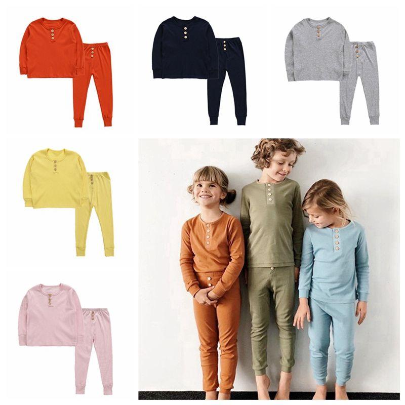 Дети сплошной цвет пижамы кнопки украшения детей с длинным рукавом эластичный домашний сервис лето осень пижамы детская одежда наборы HHA500