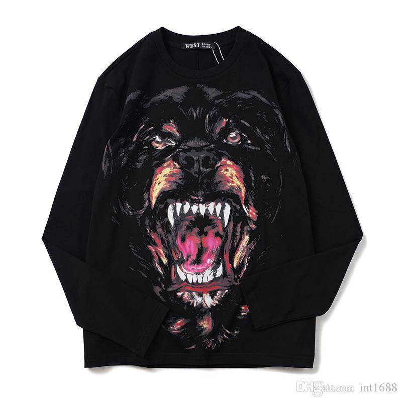2019 الجديدة الفاخرة الرجال أزياء الخريف بلايز 3D روتويلر الكلب الطباعة القطن المحملات الأسود أسلوب الشارع قمم طويلة الأكمام