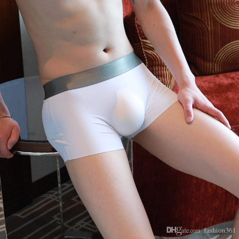 Men Ice Silk Shorts Home Slips Nylon Sexy Underwear Penis Pouch Solid Transparent Comfortable Boxers 2019