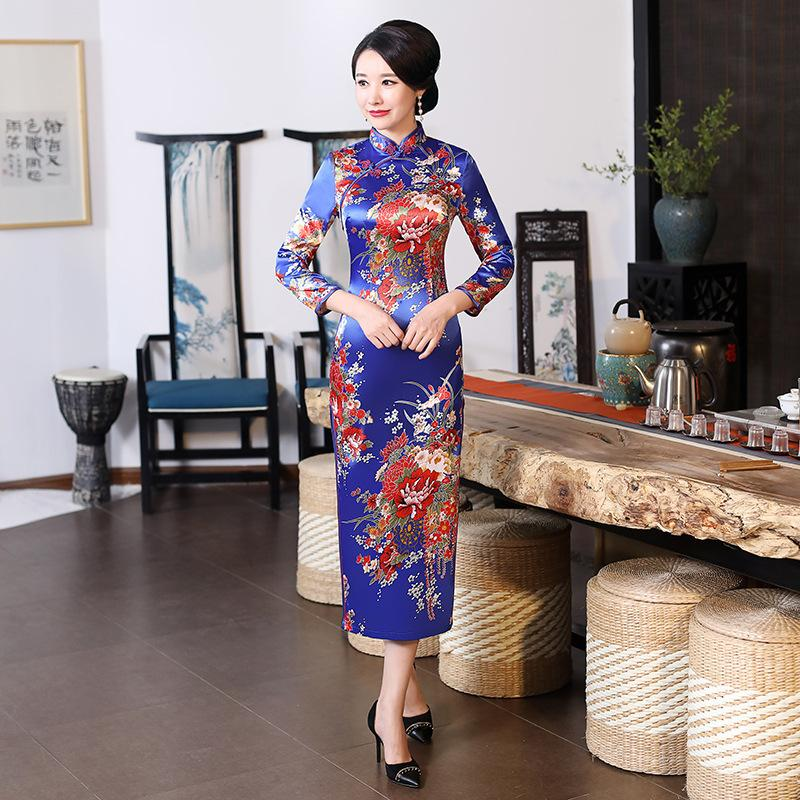 Navy Blue Wedding Cheongsam Oriental Evening Dresses Long Sleeve Traditional Chinese Bride Vintage Dress Winter Qipao Sexy
