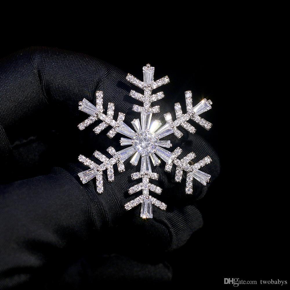 Lady Fashion di cristallo Charming Pin Spilla fiocco di neve spilla grande Pin di alta qualità del gioiello pin Accessori spilla da sposa