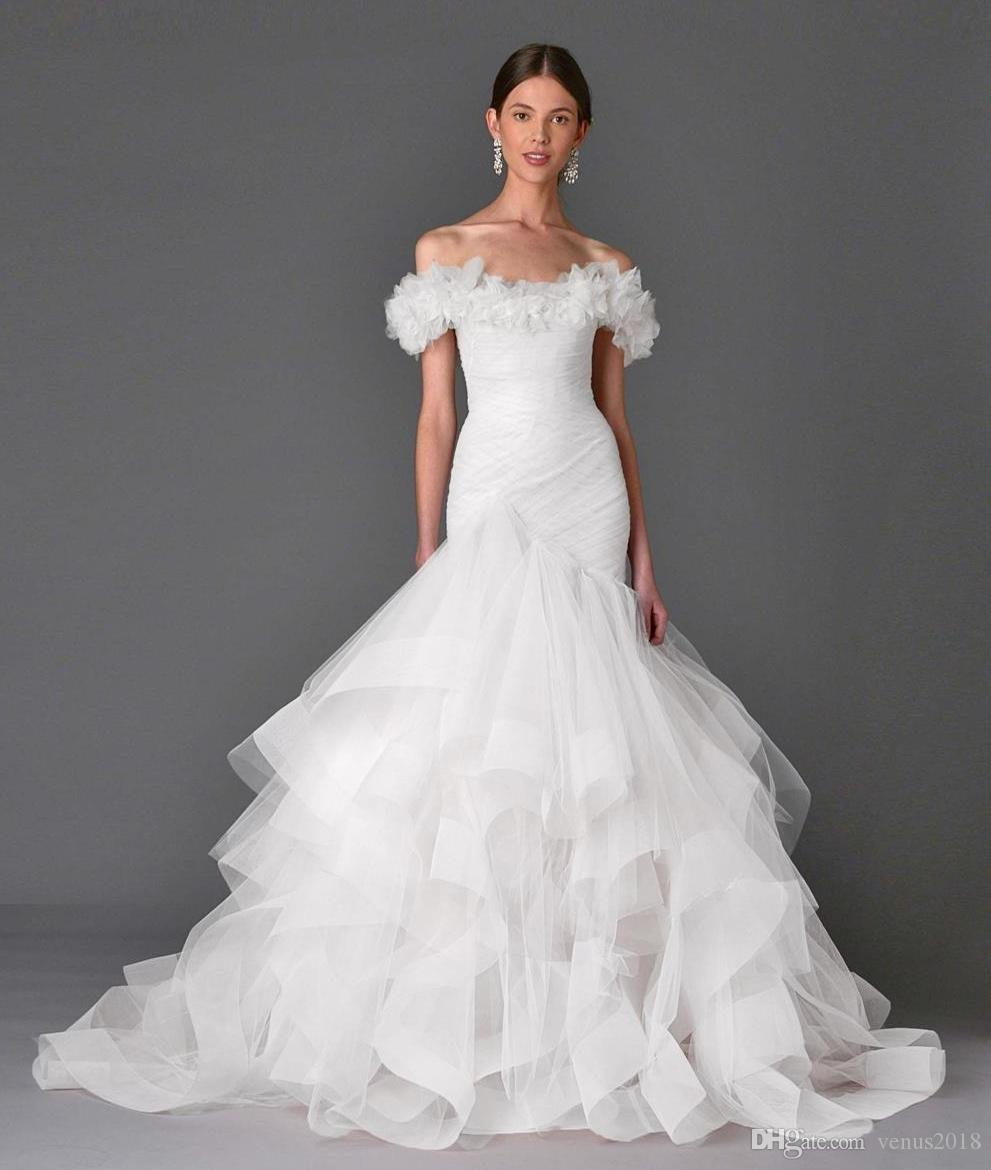 Sexy White Off the Shoulder Mermaid Wedding Dresses Court Train Pleated Tulle Flowers Tiered Skirts Lace-up Back Bridal Gowns