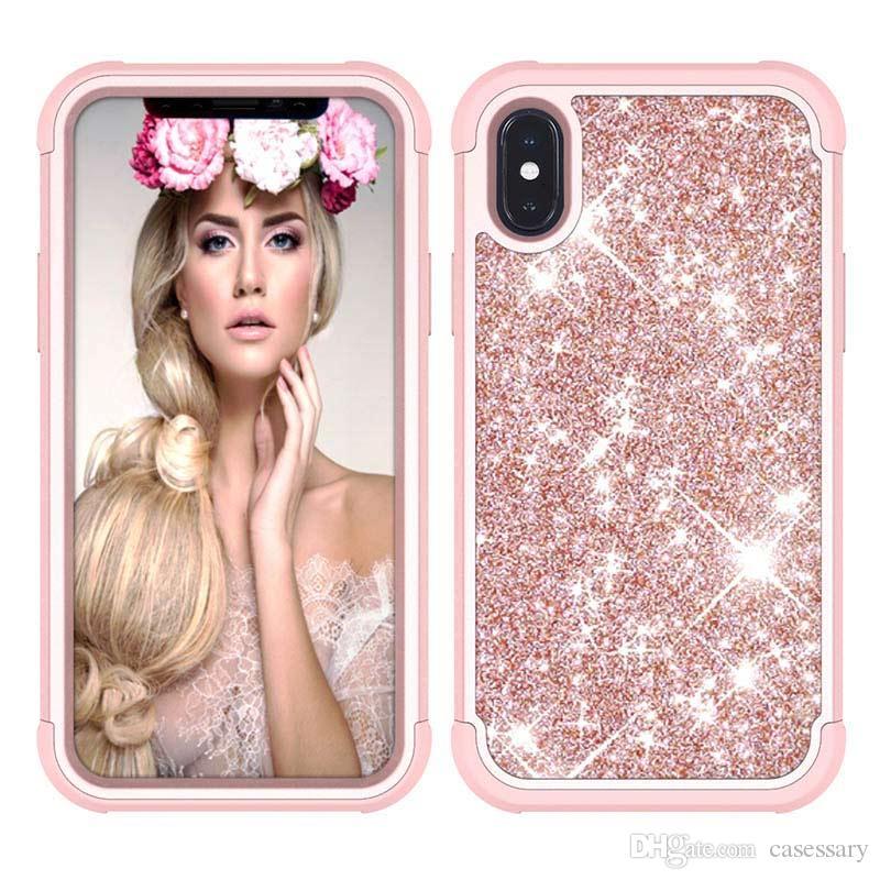 Casos de telefone à prova de choque brilho de luxo para iphone 6 7 8 plus x xs xs max samsung s9 s10 s10 além de j7 2018
