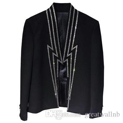 Herren Strass Perlen Flash-Kragen Mode Smoking Jacke / Bühne / Stuido / Bar / Leistung schlanke Jaceket / Asien Größe / Dies ist nur Jacke