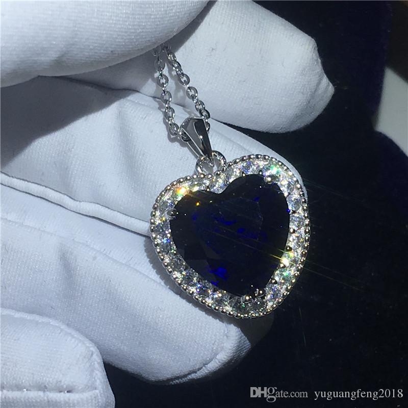 Oceanheart kate winslet pingente com colar de prata esterlina 925 azul 5A zircão cz engajamento pingentes de casamento para as mulheres