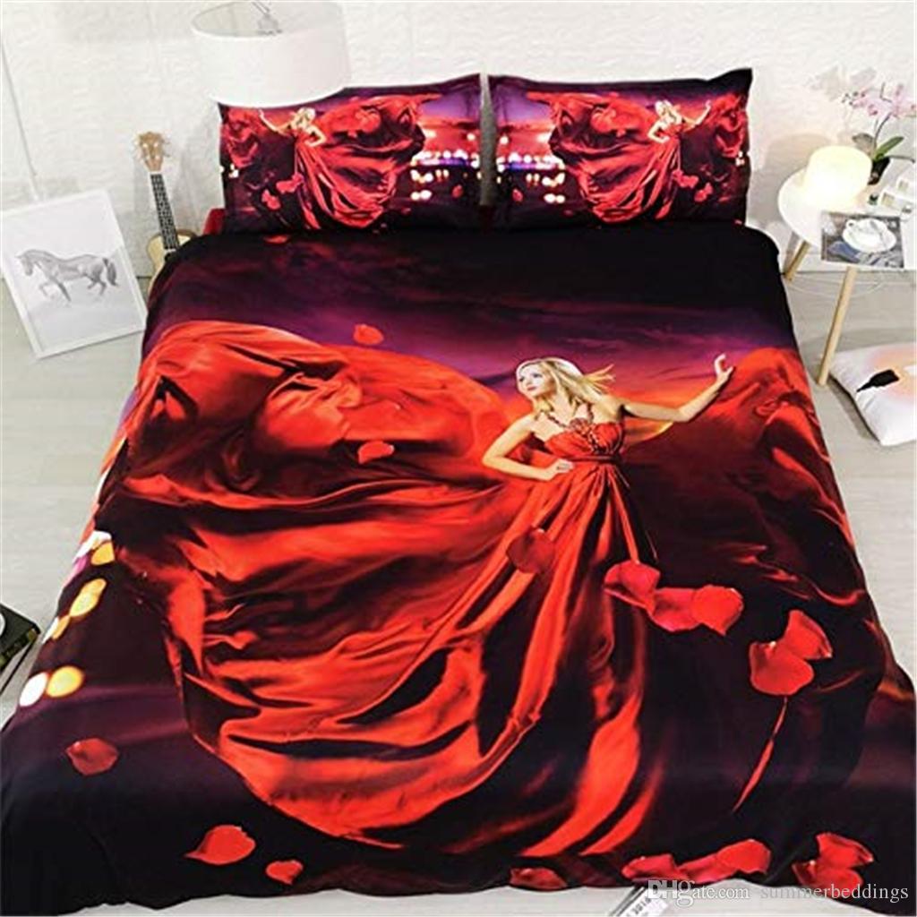 muchacha de la impresión 3D Rose funda nórdica con una almohada fundas de cama 3 piezas Set, cubierta del edredón de microfibra, cierre de cremallera, sin cobertores