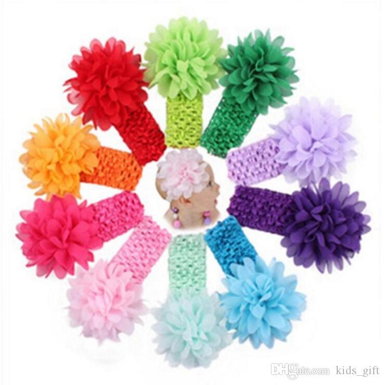 50 pcs baby Headwear Head Flower Hair Accessories Chiffon flower with soft Elastic crochet headbands stretchy hair band FJ389
