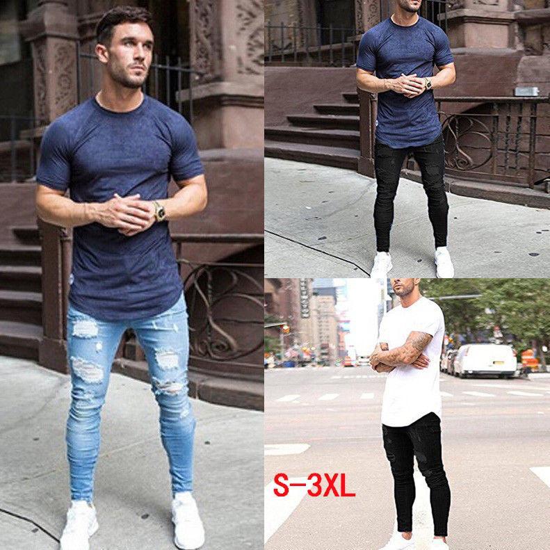 Herren-Designer-Jeans-Marken-Mann-Jeans aus gewaschenem Eng anliegendem Knie Loch-beiläufige Hosen dünner Abschnitt Vetements
