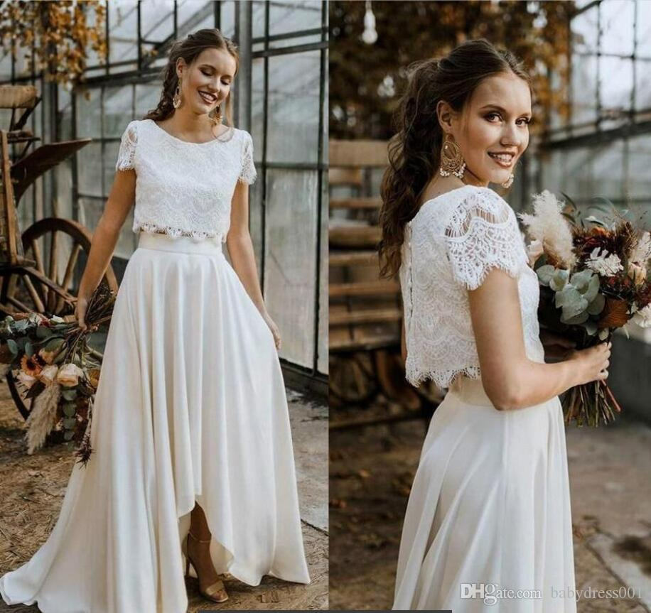 2020 cheap Hot Sell Two Pieces Summer Bohemian Wedding Dresses A Line Lace Top High Low Chiffon Skirt Gardem Boho Bridal Gowns Plus Size