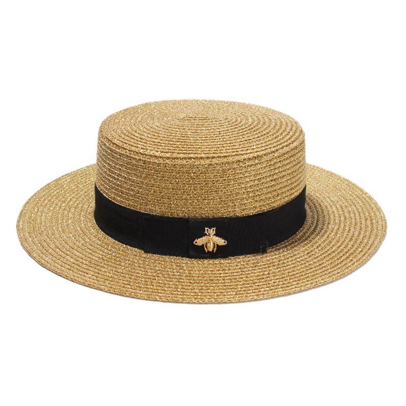 Sombrero de ala ancha tejido a la moda Oro Metal Abeja Gorra de paja ancha a la moda Sombrero de paja tejido con visera plana padre-hijo