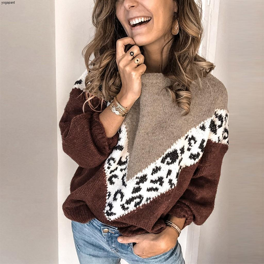 Leoaprd Printed Sweaters Women's O-Neck Long Sleeves Pullovers Warm Knitted Sweater Autumn Spring Large Size Pullover##45