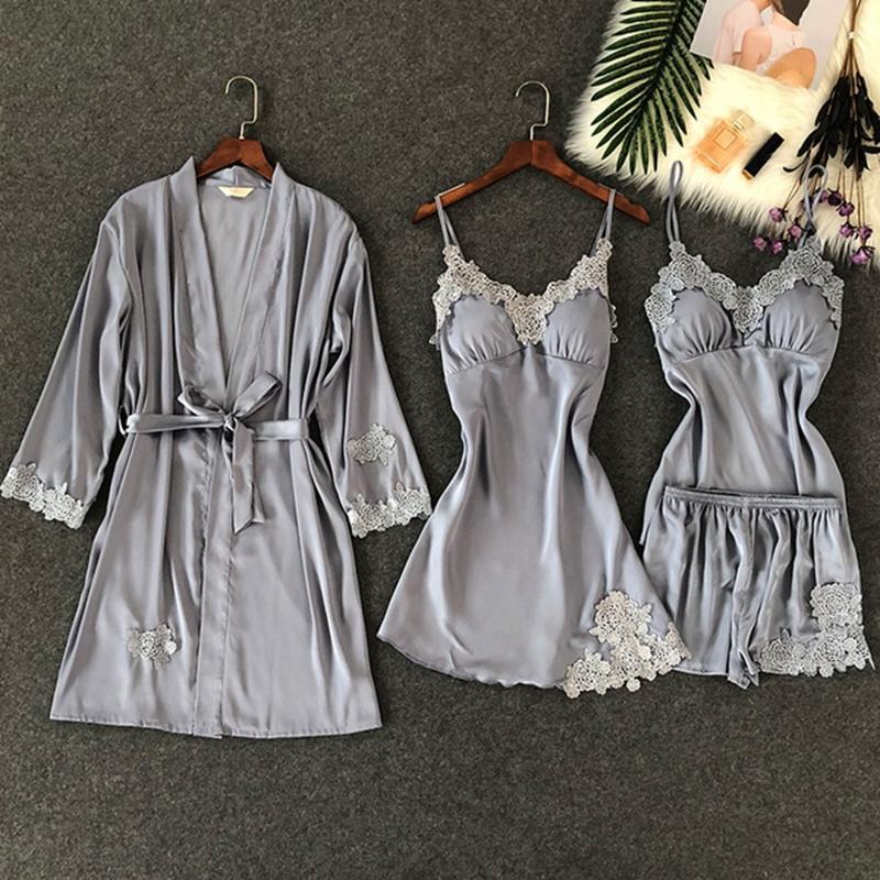 4 Pièces Mesdames col en V Pyjama Peignoir matelassée femmes Robes Nuisettes Nuit Sexy nuit Rouge Automne Bleu Gris Notte Dentelle