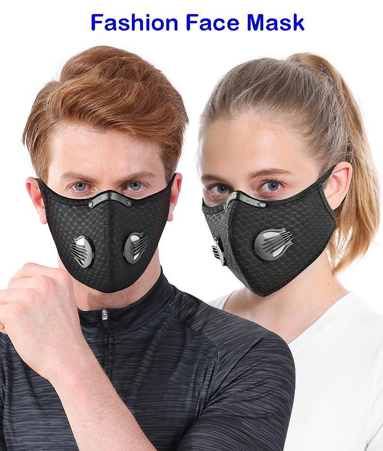 Máscara atacado Máscaras Moda carvão ativado máscara facial máscaras à prova de vento e respirável protetor solar ao ar livre Ciclismo Rosto