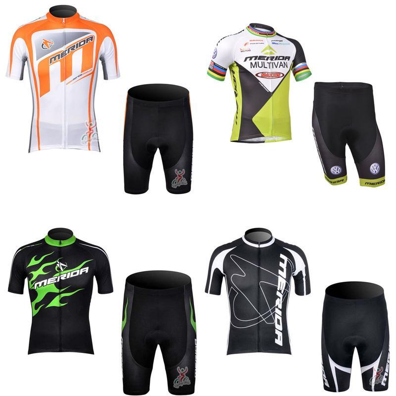 2018 Nueva llegada Merida Team Ciclismo Mangas cortas Jersey Shorts Conjuntos Bicicletas al aire libre Estilo de verano C2302