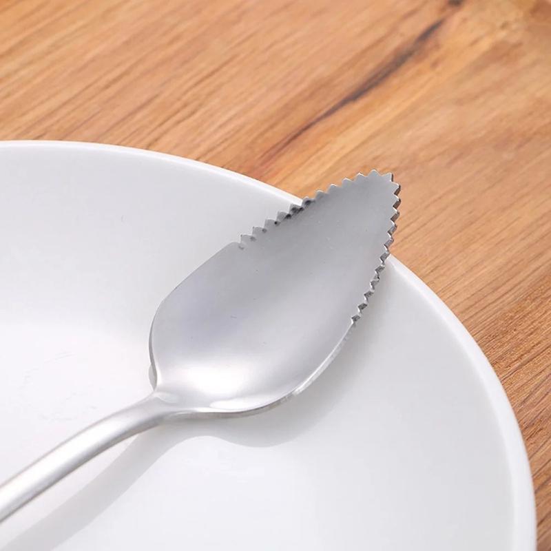 4 pièces en acier inoxydable cuillère pamplemousse bord dentelé grattoir en dents de scie à long manche