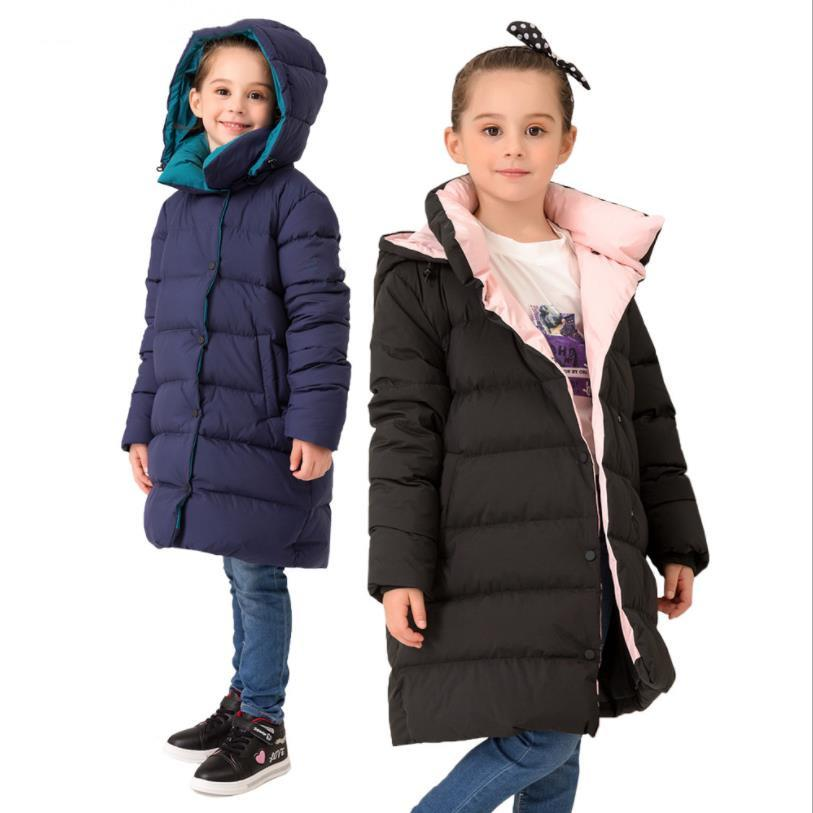 Children girls down jackets 2019 winter new warm winte duck down coats teenage school clothes kids outerwear tops 6-14Y ws919