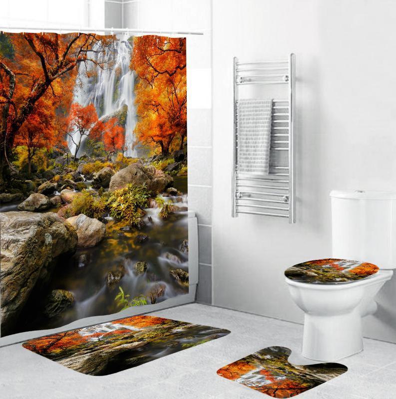 4 Pieces Home Decor Bathroom Shower Curtain 3D Autumn Forest Waterfall Landscape Toilet Pad Cover Bath Mat Shower Curtain Set