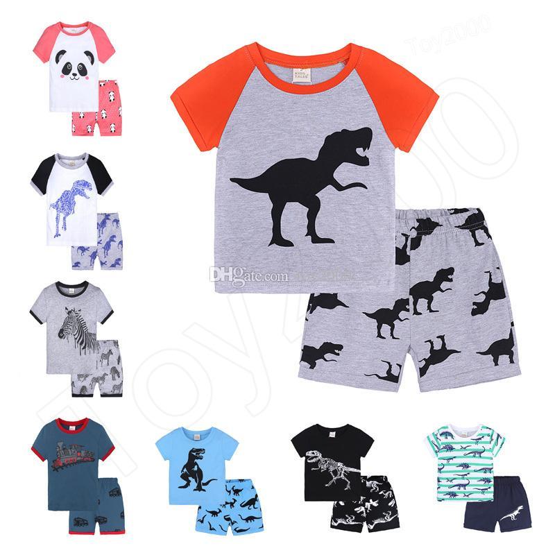 18 couleurs bébé garçons imprimé dinosaure tenues enfants rayures haut et shorts 2pcs / set costume d'été