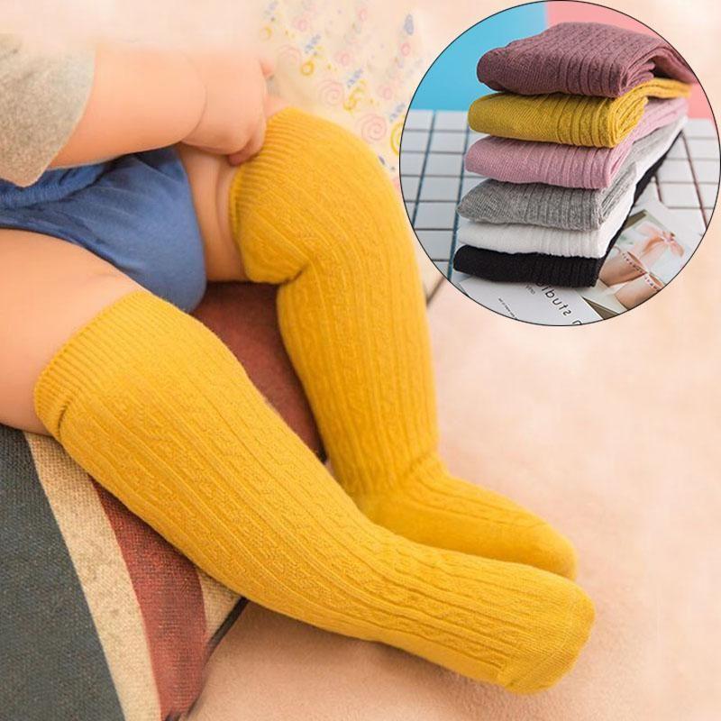 INS Качество младенца Мальчики Девочки Носки новорожденных малыши Детские Колено высокий носок хлопок сплошного цвет девушка мальчик носки младенец Дети Длинного Носок meias