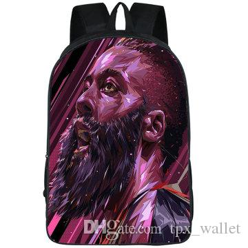 لحية الظهر جيمس هاردن daypack بارد نجم رجل المدرسية كرة السلة صورة طباعة حقيبة الظهر الرياضة حقيبة مدرسية في الهواء الطلق حزمة اليوم